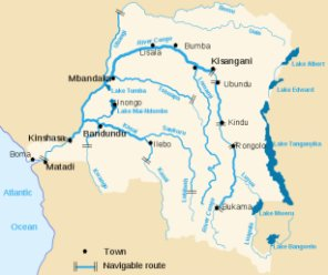 Main rivers and lakes of the Democratic Republic of Congo: This file is licensed under the Creative Commons Attribution-Share Alike 3.0 Unported license